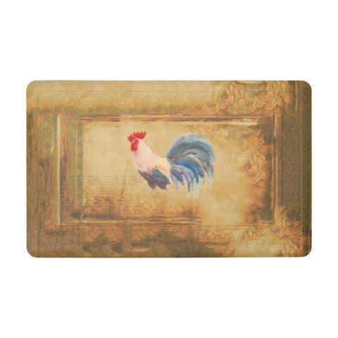 Chef Gear Hydrangea Border Vintage Rooster Gelness Mat - 1'8 x 2'8