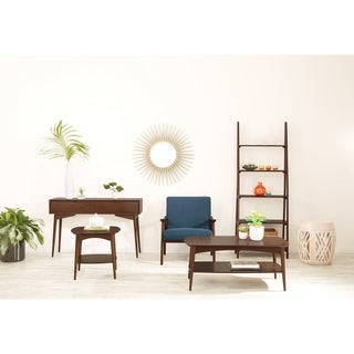 OSP Designs Wood Drum Accent Table in Antique Finish