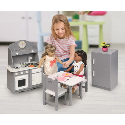 Badger Basket Kitchen Furniture Set for 18 inch Dolls - Gray/White