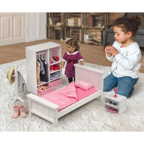 Badger Basket Bedroom Furniture Set for 18 inch Dolls - White/Pink