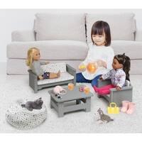 Badger Basket Living Room Furniture Set for 18 inch Dolls - Gray/White