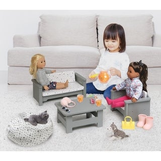 Badger Basket Living Room Furniture Set for 18 inch Dolls - Gray/White
