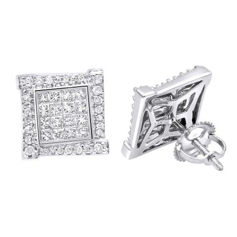 Round & Princess Cut Diamond Earrings Square Studs 14k Gold 1ctw by Luxurman