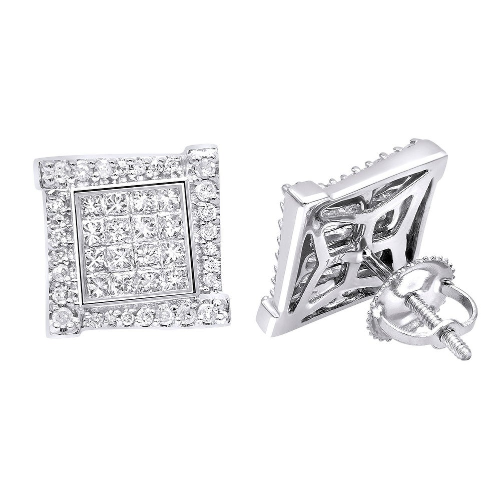 Men Women White Gold Over Sterling Silver Round Diamond Square Stud Earrings