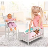 Badger Basket English Country Doll High Chair and Bed Set - White/Pink