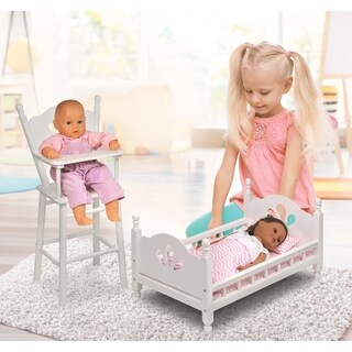 English Country Doll High Chair and Bed Set with Bedding - White/Pink