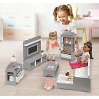 Badger Basket Media Room Furniture Set for 18 inch Dolls - Gray/White