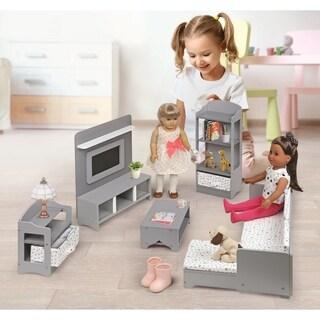 Badger Basket Media Room Furniture Set for 18 inch Dolls - Gray/White
