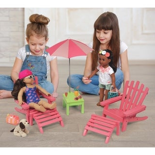 Badger Basket Two Adirondack Doll Chairs with Table and Umbrella - Pink/Green