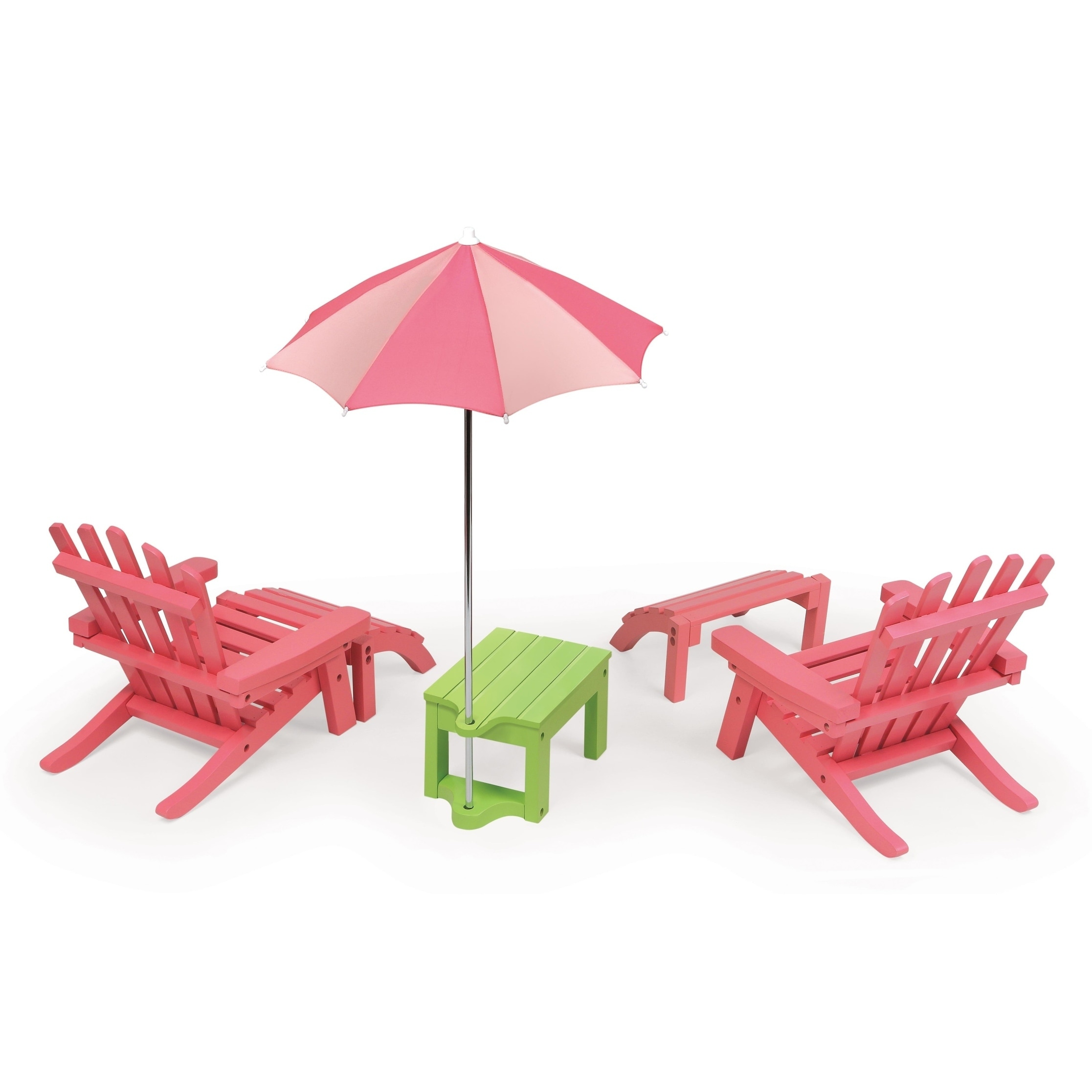 Dollhouse Miniature Colorful Summer Adirondack Lawn Table Pink Closeout