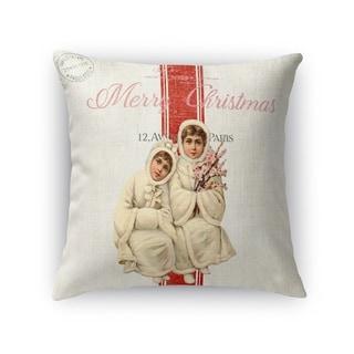 Children At Christmas Accent Pillow By Terri Ellis