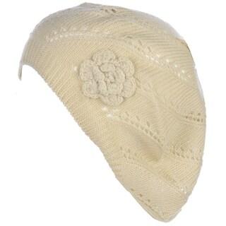 BYOS Chic Parisian Style Lightweight Crochet Beret Beanie Hat W/Flower Adornment,More Styles