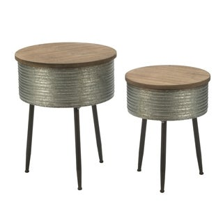 Metal and Wood top Storage Tables (Set of 2)