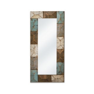 Rectangular Geometric Decorative Wall Mirror - Antique White/Brown/Blue/Antique White