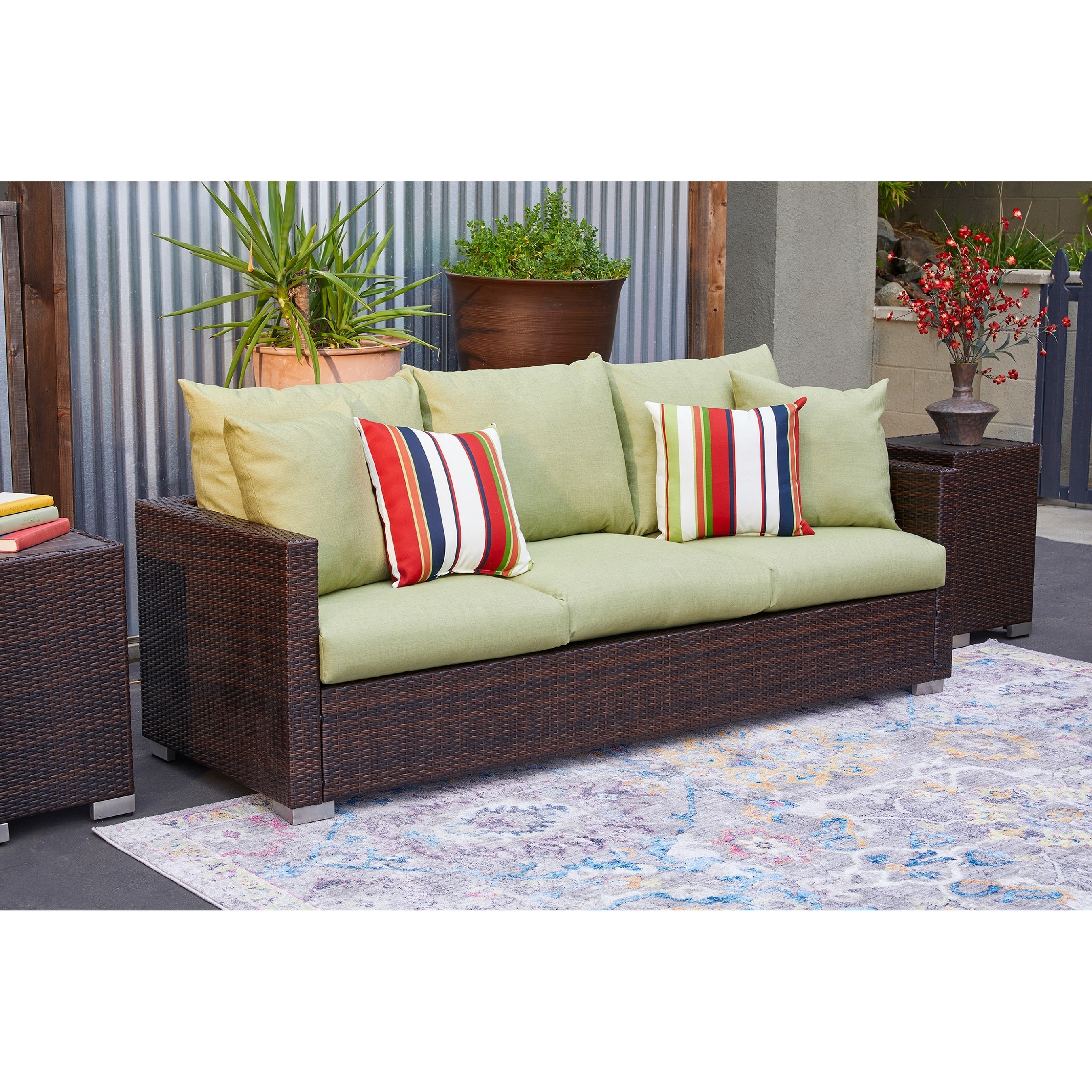 Details About Handy Living Aldrich Indoor Outdoor Brown Resin Rattan Sofa With Green Cushions