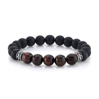 SPARTAN Red Tiger Eye and Black Agate Sterling Silver Men's Beaded Bracelet