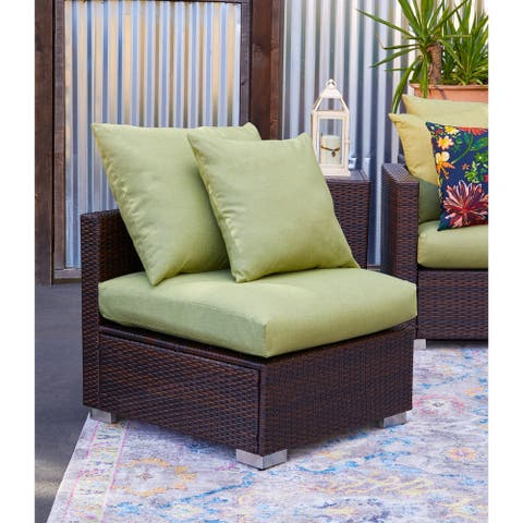 Handy Living Aldrich Indoor/Outdoor Brown Resin Rattan Armless Chair with Green Cushions