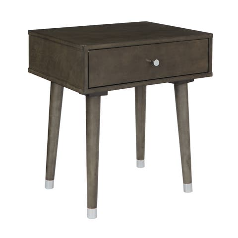 OSP Home Furnishings Cupertino Mid-Century Accent Side Table in Grey