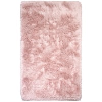 Central Illuminous Shag Rose Quartz and Silver Area Rug