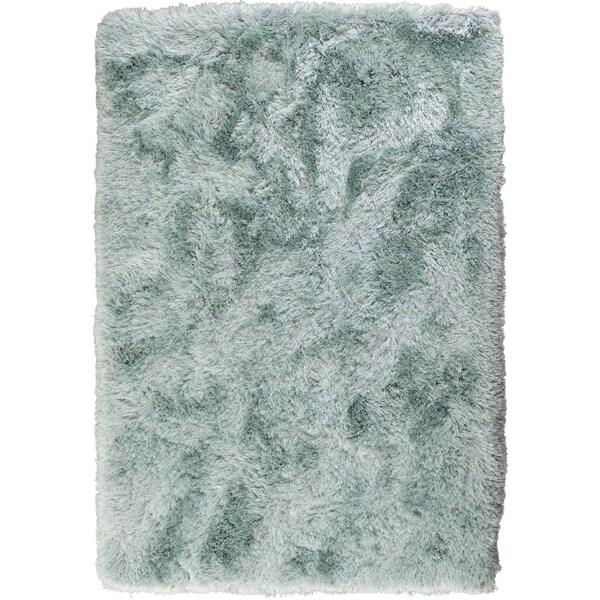 Central Sparkle Silver Metallic Shag Area Rug