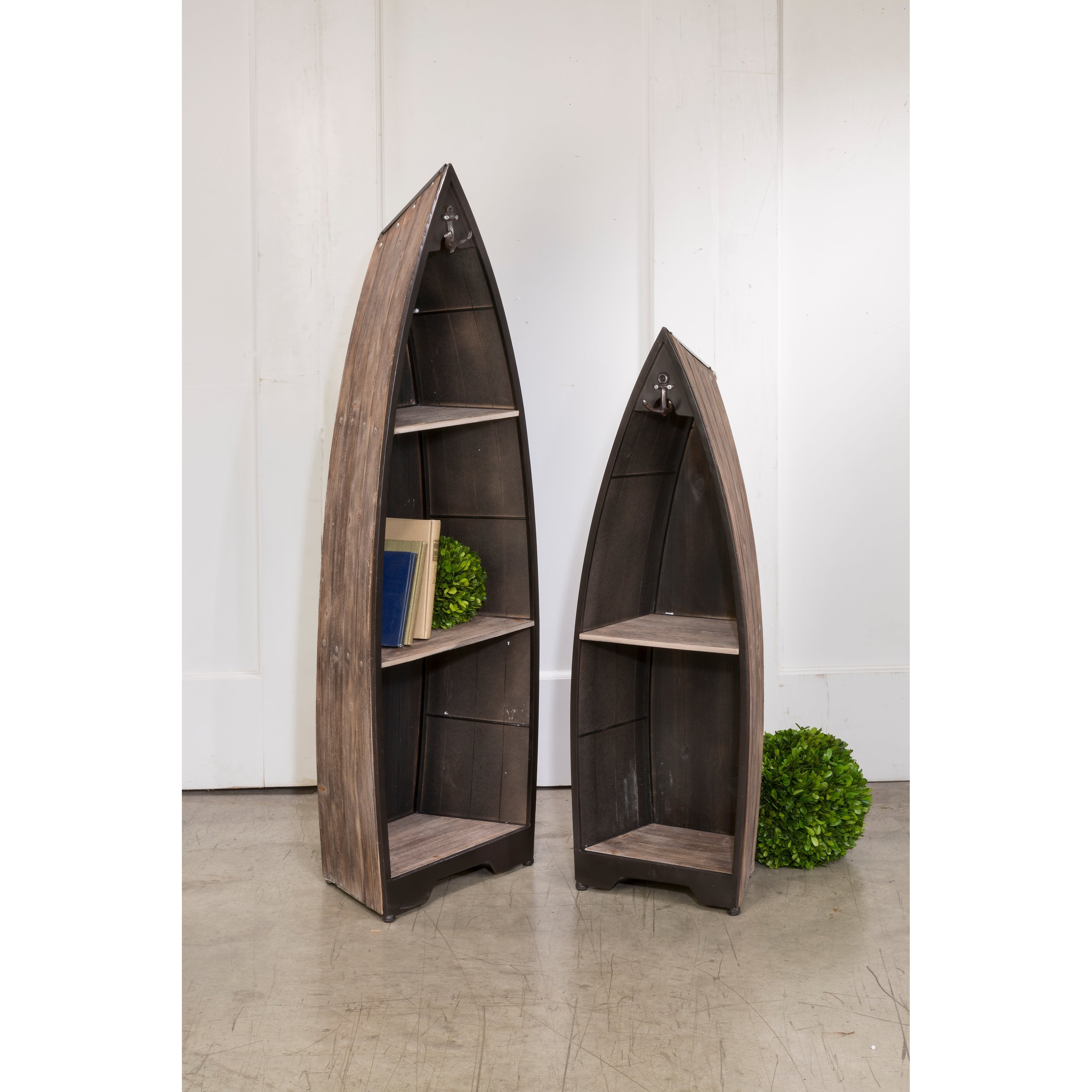 Decorative Wooden Boat With Shelves Set Of 2