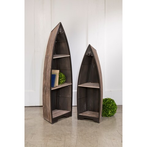 Decorative Wooden Boat with Shelves - Set of 2