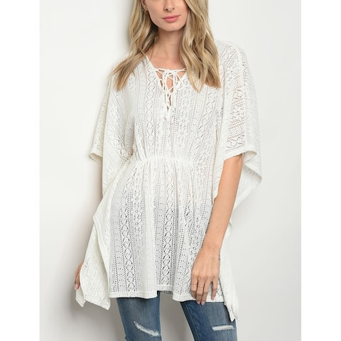 JED Women's Flutter Sleeve Lace Tunic Top