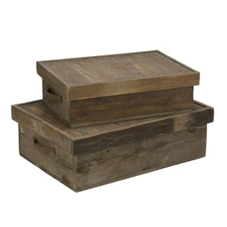 Wooden Boxes with Lids, Set of 2