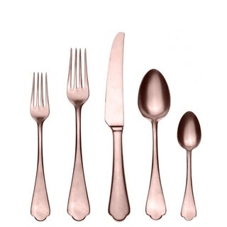 Mepra 5-piece Stainless Steel w/PVD Titanium Coating Dolce Vita Pewter Bronze Cutlery Set