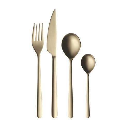 Linea Champagne 5-piece Stainless Steel w/PVD Titanium Coating Flatware Set