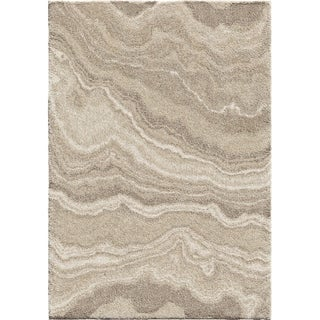 Orion River Rock Ivory Plush Shag Rug - 9' x 13'