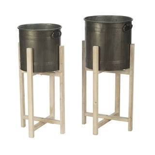 Set of 2 Round Tin Storage Buckets