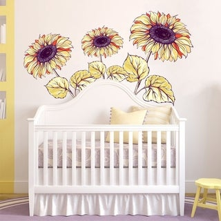 "Sunflowers Nature Kids Full Color Wall Decal Sticker K-1257 FRST Size 30""x47"""