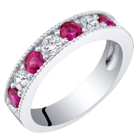 Sterling Silver 0.75 Carat Created Ruby Milgrain Half Eternity Ring Band