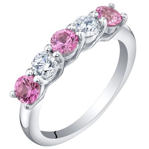 Sterling Silver 0.75 Carat Created Pink Sapphire Five-Stone Trellis Ring Band