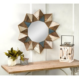 Round Geometric Wall Mirror - Distressed Blue/Distressed Brown/Distressed White