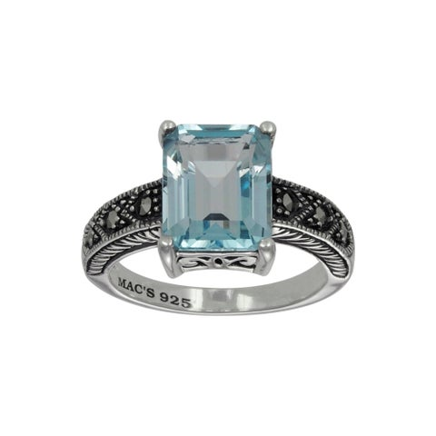 MARC Sterling Silver Top Sky Blue Topaz & Marcasite Ring