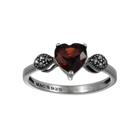 MARC Sterling Silver Garnet & Marcasite Tiny Heart Shape Ring