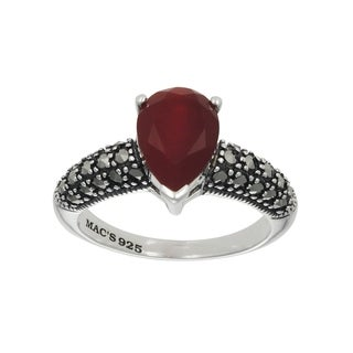 MARC Sterling Silver Red Agate & Marcasite Tiny Pear Shape Ring