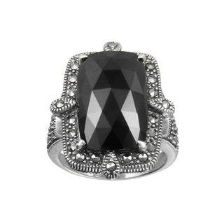 MARC Sterling Silver Black Onyx & Marcasite Rectangular Cocktail Ring