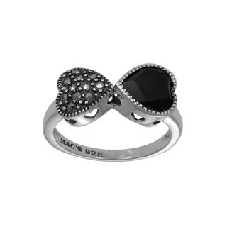 MARC Sterling Silver Black Onyx & Marcasite Yin-Yang Heart Ring