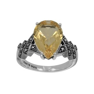 MARC Sterling Silver Citrine & Marcasite Pear Shape Ring
