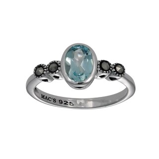 MARC Sterling Silver Top Sky Blue & Marcasite Oval Shape Ring