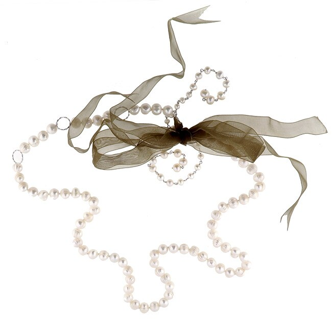 DaVonna Silver White FW Pearl and Gold Ribbon Necklace (3.5-8 mm)