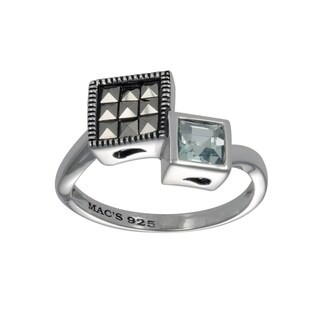 MARC Sterling Silver Semi-Top Sky Blue & Marcasite Cushion Ring