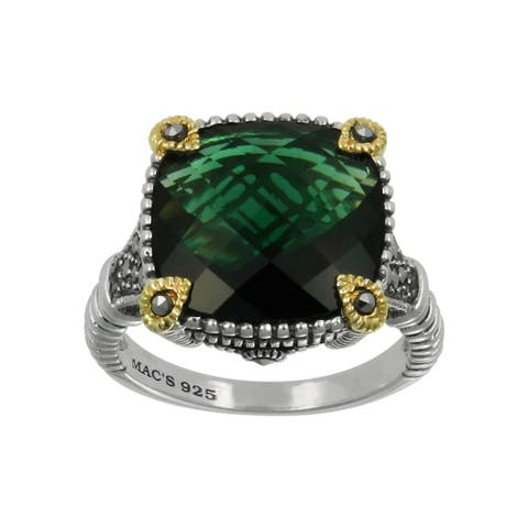 MARC Sterling Green Synthetic Qtz & Marcasite Gold Overlay Ring - Silver