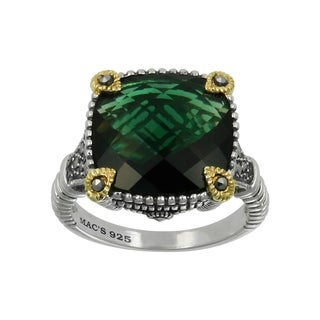 MARC Sterling Silver Green Synthetic Qtz & Marc Gold Overlay Ring