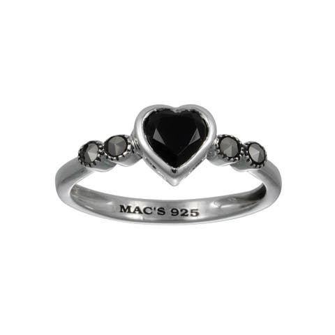 MARC Sterling Silver Semi- Black Onyx & Marcasite Tiny Heart Ring