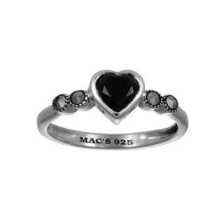 MARC Sterling Silver Semi Black Onyx Marcasite Tiny Heart Ring