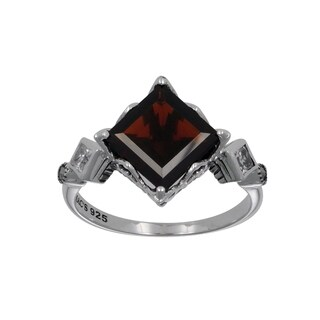MARC Sterling Silver Diamond Shape CZ, Garnet & Marcasite Ring